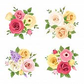 ������, ������: Bouquets of colorful flowers Vector set of four illustrations
