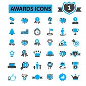 Постер, плакат: Awards icons: trophy certificate winner award ceremony award trophy award ribbon medal