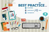Постер, плакат: Best Practice And Flat Design Illustration Concepts For Business Analysis