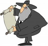 stock photo of rabbi  - This illustration depicts a Jewish Rabbi reading from a scrolled parchment - JPG
