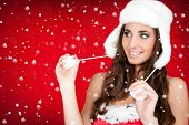 Snow And Santa Woman In White Furry Hat poster