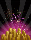 Fireworks Over A City Skyline In Vertical Format poster