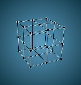 foto of parallelepiped  - Wireframe mesh polygonal element - JPG