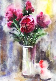 image of wet  - Illustration of watercolor bouquet of red peonies - JPG