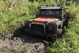 pic of marshes  - UKRAINE - JULY 28 - Land Rover Defender stuck in marsh on July 28 2015 in Ukraine. ** Note: Soft Focus at 100%, best at smaller sizes - JPG