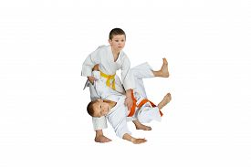 picture of judo  - The athletes in judogi perform throws judo - JPG