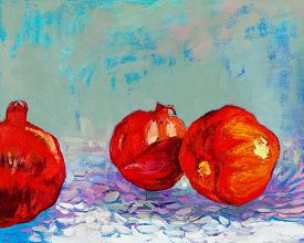 picture of pomegranate  - Original oil painting of tasty pomegranate fruit  - JPG