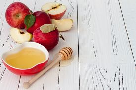 pic of traditional  - Apple and honey traditional food of jewish New Year  - JPG