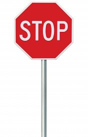 picture of truck-stop  - Red Stop Sign - JPG