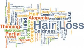 image of male pattern baldness  - Background concept wordcloud illustration of hair loss - JPG