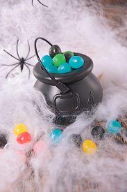 foto of cauldron  - halloween decoration with cobweb - JPG