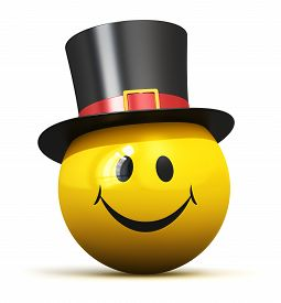 picture of emoticon  - Happy yellow smiley emoticon ball face with smile in black hat isolated on white background - JPG