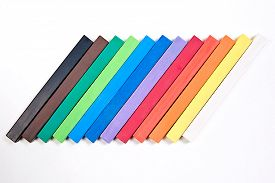 pic of pastel  - View of different color chalks pastel isolated on the white background - JPG