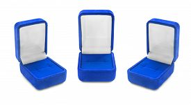 picture of jewel-case  - Group of blue empty jewel boxes on white background - JPG