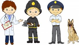 image of firemen  - Policeman fireman and doctor in their uniform - JPG