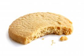 pic of shortbread  - Single round shortbread biscuit with crumbs and bite missing - JPG