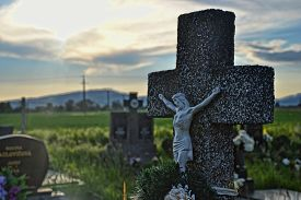stock photo of tombstone  - Grave in the cemetery - JPG