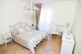 stock photo of b-double  - double room in white style in hotel b - JPG