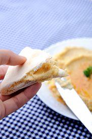 pic of humus  - Eating humus with flatbread - JPG