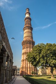 picture of qutub minar  - Highly detailed image of Qutub Minar tower Delhi India - JPG