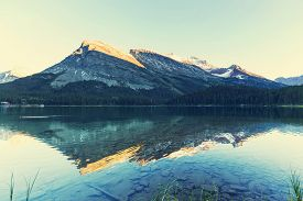 pic of landforms  - Bowman lake in Glacier National Park - JPG