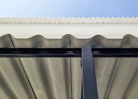foto of canopy roof  - New roof of the canteen in factory. ** Note: Visible grain at 100%, best at smaller sizes - JPG