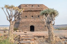 stock photo of tiger eye  - This blockhouse on a hill guarded Prieska a small town next to the Gariep River during the Second Boer War - JPG