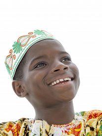 stock photo of ten years old  - Afro boy smiling - JPG