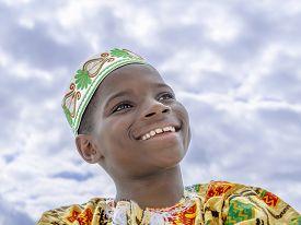 foto of ten years old  - Muslim Afro boy smiling - JPG
