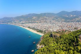 stock photo of cleopatra  - View of the city Alanya in Turkey and Cleopatra Beach - JPG