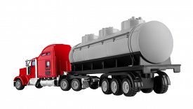 picture of tank truck  - Truck with tank isolated on white background - JPG