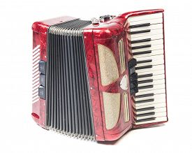 foto of accordion  - Old red accordion isolated on a white background - JPG