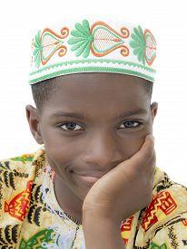 image of ten years old  - Afro boy smiling - JPG