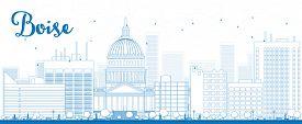 stock photo of boise  - Outline Boise Skyline with Blue Building - JPG