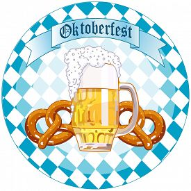 picture of pretzels  - Round Oktoberfest Celebration design with beer and pretzel - JPG