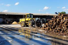 foto of logging truck  - Log Loader Working A Lumber Mill Logging Truck - JPG