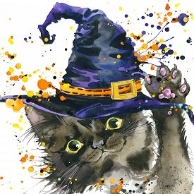 stock photo of halloween  - Halloween cat and a witch hat - JPG