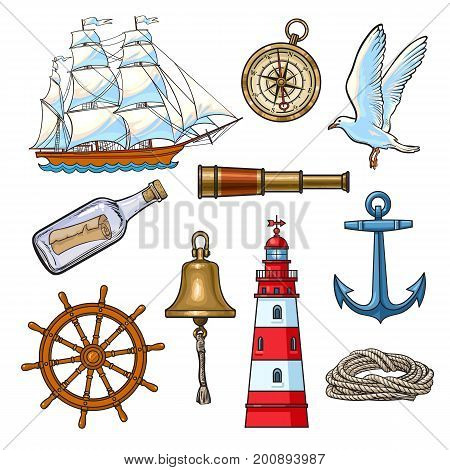poster of Cartoon nautical elements - lighthouse, anchor, compass, ship, rope, steering wheel, seagull, message bottle, bell, vector illustration isolated on white background. Set of cartoon nautical elements
