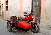 stock photo of sidecar  - Old red American sidecar in Habana city - JPG