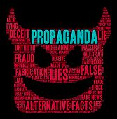 Propaganda Word Cloud On A Black Background. poster