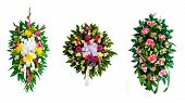 foto of condolence  - Collection of arranged flower wreaths for funerals - JPG