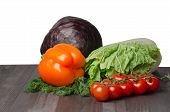 Vegetables On A Table Isolated On A White Background poster