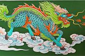 picture of chinese unicorn  - Chinese traditional kirin pattern on wall in chinese temple Thailand - JPG