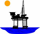 stock photo of oil rig  - Oil platform in the middle of sea under the sun - JPG