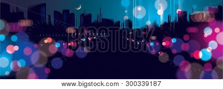 poster of Wide Panorama Light Night At City, Bokeh Abstract Background Blurred Lights. Effect Vector Beautiful