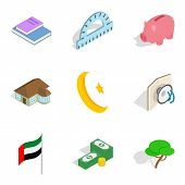 Capital Icons Set. Isometric Set Of 9 Capital Icons For Web Isolated On White Background poster