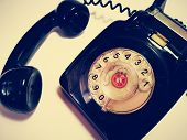 Closeup With 1960 Vintage Corded Telephone With Vintage Background. poster