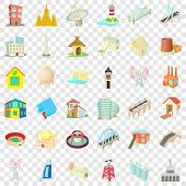 Tall Building Icons Set. Cartoon Style Of 36 Tall Building Vector Icons For Web For Any Design poster