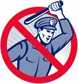 image of truncheon  - Illustration of a police officer wielding a truncheon nightstick baton set inside sign that means stop police brutality - JPG