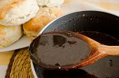 stock photo of biscuits gravy  - Chocolate gravy for biscuits - JPG